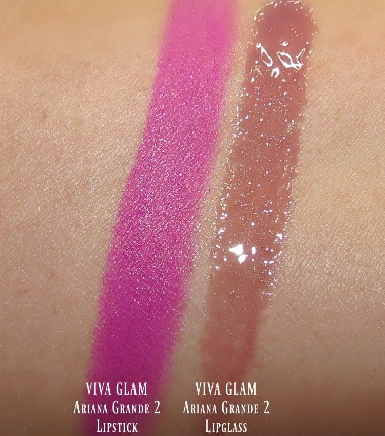 MAC VIVA GLAM Ariana Grande 2 Lipstick & Lipglass swatches review music swatch pics