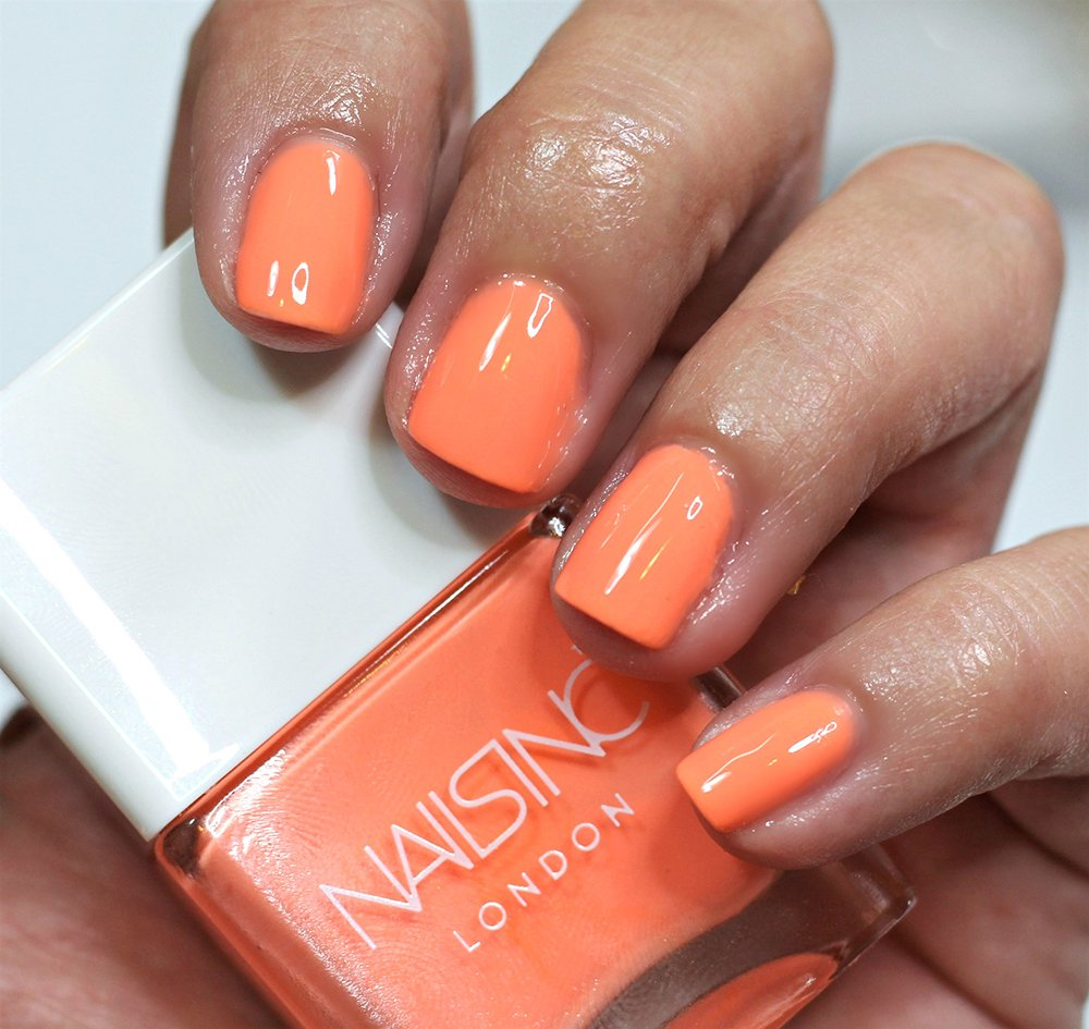 NAILS INC Coral Club Nail Polish Swatches review swatch pics neon ...