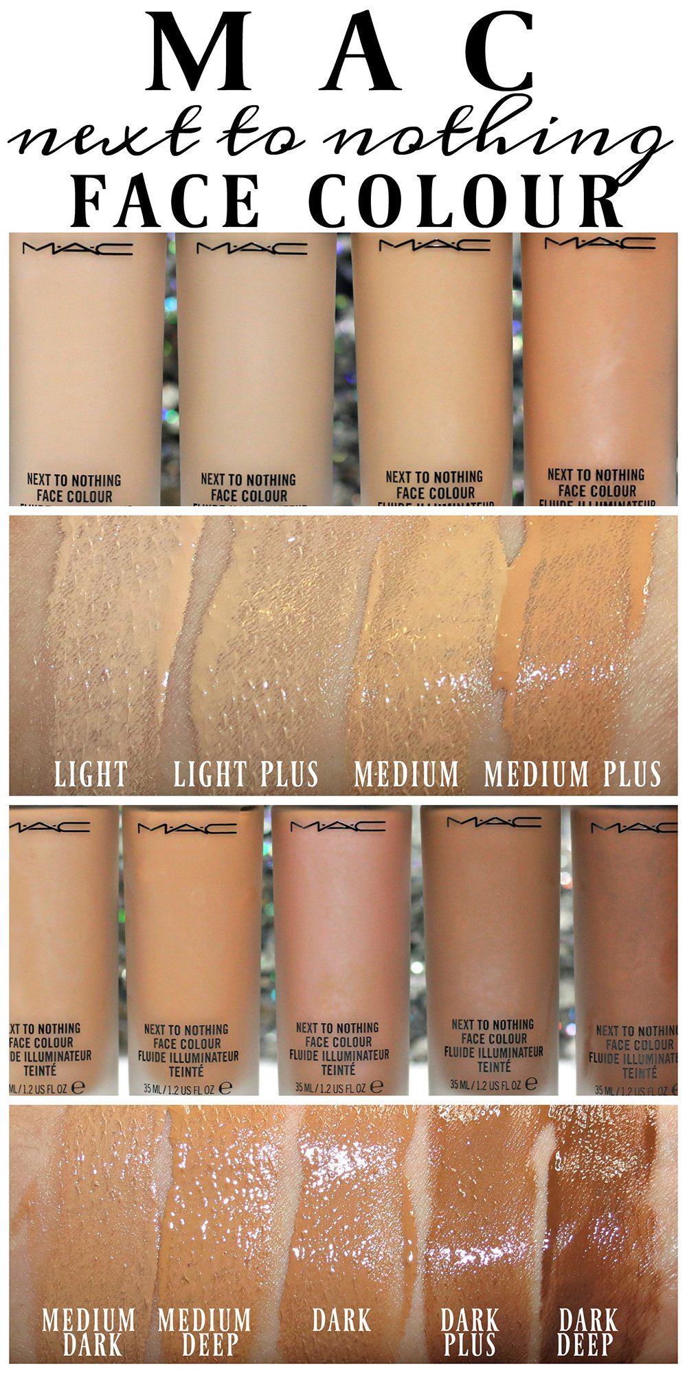 Mac Next To Nothing Face Colour Color Foundation Tint Swatches
