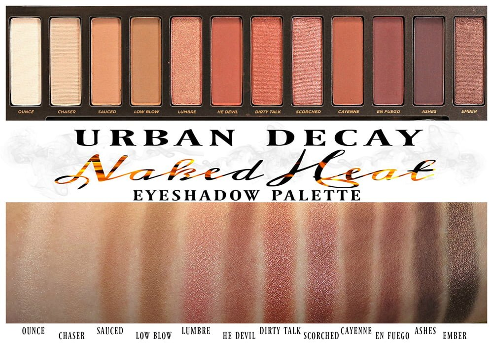Urban Decay Naked Heat Eyeshadow Palette swatches swatch review ...