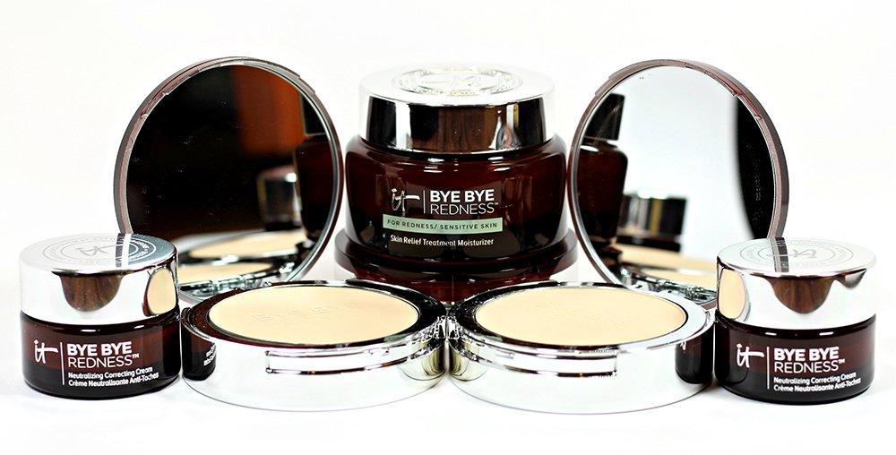 IT Cosmetics Bye Bye Redness Cream, Moisturizer & Powder Swatches + Review