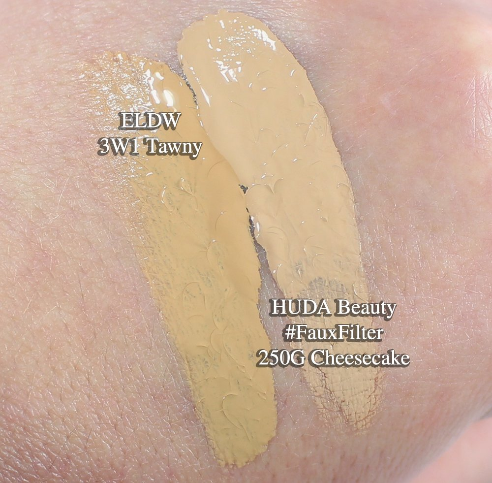 Huda Beauty Faux Filter Foundation Swatch Estee Lauder Double Wear