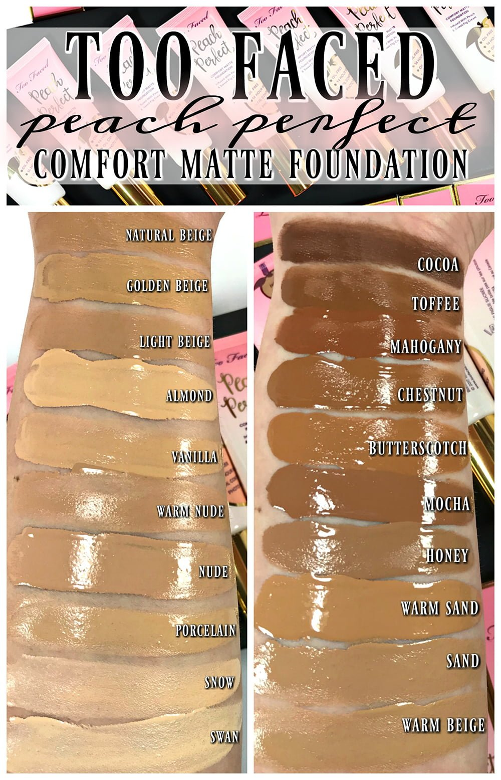 Too Faced Peach Perfect Comfort Matte Foundation Swatched Review