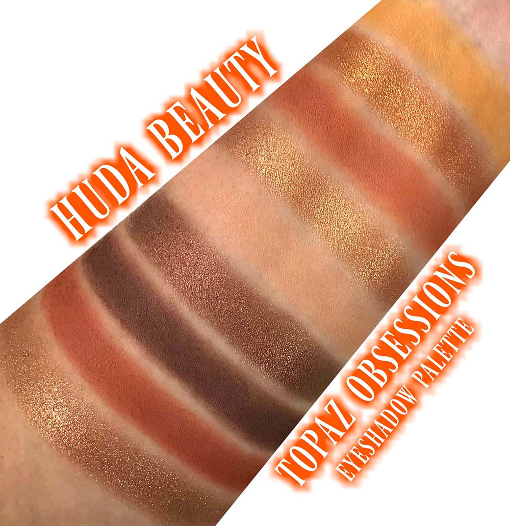 HUDA Beauty Topaz Obsessions swatches eyeshadow palette swatch pics review  photos sephora precious stones collection makeup - Blushing Noir